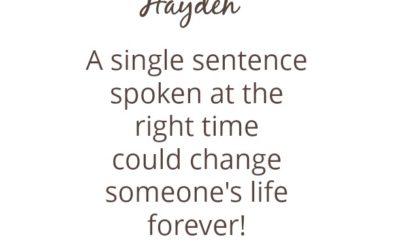 A Single Sentence…